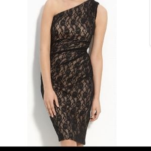 Maggy London One Shoulder Lace Dress